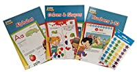 (Activity Books) - Simple Brilliance Little People Educational Workbook Set Includes 3 Early Learning Activity Books - Numbers 1-10, Colours and Shapes and Alphabet Plus Star Sticker Sheets