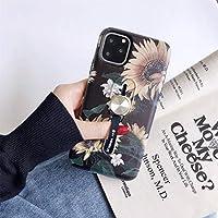 Iphone 11事件 iPhoneの場合は11 Proの花シリーズは絵画耐震多機能インビジブルリングホルダー保護ケース自動車磁性シート(イエロー)携帯電話のケースで in new 2020 (Color : Red)