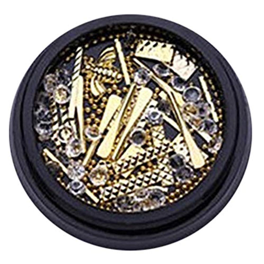 欲望初期勧めるhamulekfae-和風可愛い人気ブラクケア金属バー長方形リベットネイルアート宝石ラインストーンデコレーションホイールDIYのヒント - ゴールデンGolden