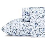 Laura Ashley 219212 Lorelei Cotton Sheet Set, Blue, Queen