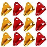12PCS アウトドア キャンプ テントツール テントロープ固定 アルミニウム 自在 コードスライダー 12個セット 三角形 便利 軽量 耐久性 (ゴールドとレッド)