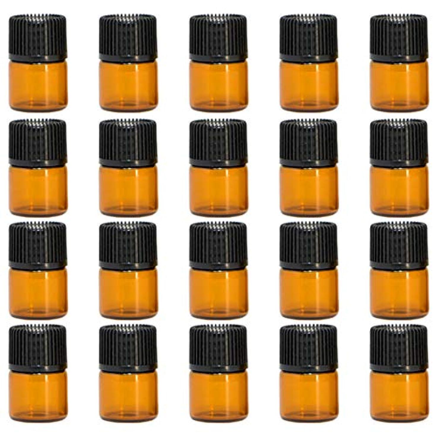 オレンジ論争的それアロマオイル 精油 遮光瓶 遮光ビン ガラスボトル ガラス製 エッセンシャルオイル 保存用 保存容器詰め替え 茶色 ブラウン(1ml?20本セット)予備入り