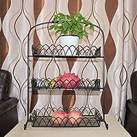 SLH ヨーロッパスタイルの鉄のアート三層の果物のバスケットのリビングルームの受信ラックキッチンラックのペストリーのマルチレイヤフルーツボウル