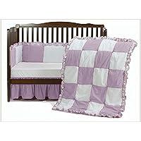 ベビードール寝具Gingaham /ハトメパッチワークベビーベッド寝具セット、ピンク、4ピース