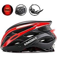 KINGBIKE自転車ヘルメット大人のロードバイク/サイクリングヘルメットシンプルなヘルメットのバックパックメンズ女性との超軽量高剛性LEDライトヘルメット56-63 CM M/L/XL