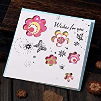 誕生日パーティーのグリーティングカード 多色印刷された中空の花植物のグリーティングカード 祝福メッセージはがきギフトカード 1個/12個/24個/60個 AQ045 (C,60個)
