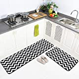 "Carvapet 2 Pieces Microfiber Chevron Non-Slip Soft Kitchen Mat Bath Rug Doormat Runner Carpet Set 20""x63""+20""x31"" Black"