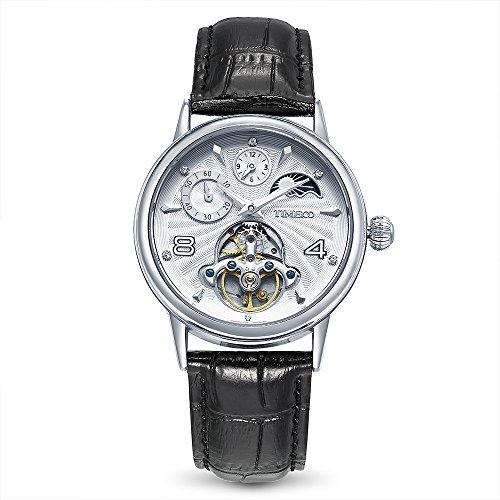 Time100 太陽と月と星 オートマチック 中空スケルトン 昼夜表示 夜光インデックス クラシックシリーズ メンズ レディース腕時計 #W60011M.01AN
