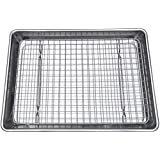 Checkered Chef Quarter Sheet Pan and Rack Set 9.5 x 13 inches. Aluminum Cookie Sheet/Baking Sheet Pan with Stainless Steel Ov