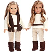 Warm and Cosy - 4 piece outfit - 46cm doll clothes - brown vest, ivory blouse, corduroy pants and brown boots. (doll not included)