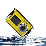 IFLYING 防水デジタルカメラ 2.7インチLCDスクリーン 16MP 水中10m 8倍ズーム 水中撮影に適用 (イェロー)