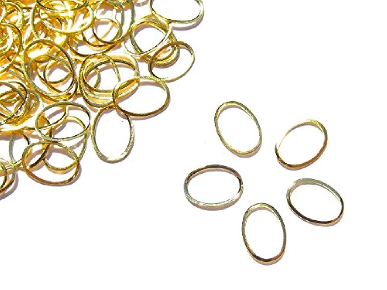 優れました香港神話【jewel】メタルフレームパーツ オーバル型 8.5mm×6mm 10枚入り ゴールド 金 (カーブ付きフラットタイプ)素材 材料 レジン ネイルアート パーツ 手芸