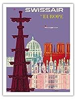 ヨーロッパへ - スイス航空 - スイス - 大聖堂 - ビンテージな航空会社のポスター によって作成された フリッツ・ビューラー c.1958 - アートポスター - 51cm x 66cm