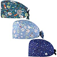 Gedston Cute Print Working Cap with Buttons and Sweatband,Adujstable Tie Back Hats for Women Men