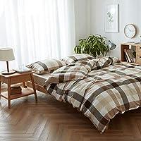 """CATYAA チェック寝具セットストライプ寝具コレクション4個枕カバー枕カバー、ウルトラソフト、軽量、低刺激性、耐久性 (Color : 17, サイズ : 79"""" x90""""+59"""" x 78"""")"""