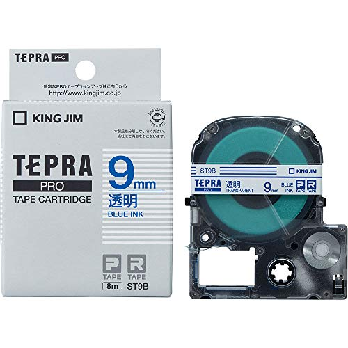 テプラ PRO用テープカートリッジ 透明ラベル ST9B [青文字 9mm×8m]