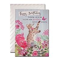バースデーカード 「フローラル ファンシー」 09 猫と蝶