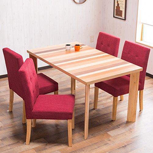 【木目を生かした北欧テイスト お洒落なダイニング5点セット (4人掛け用)】天然素材テーブル仕様 割れ・ゆがみが起こりにくい ガタツキ防止アジャスター付 優しいファブリックチェア 適度なクッション性 (テーブル ナチュラル色・椅子 レッド色)