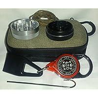 Smoker 's Stashキットバンドルfor Herbsまたはタバコ、頑丈なコンパクトポータブルオリーブストレージ旅行バッグwith 420アクセサリー: 2