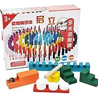 ドミノ HAOUN 天然松木製 カラフル 倒し 積み木 ドミノ牌 知育玩具 教育玩具 200PCS