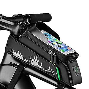 自転車トップチューブバッグ フレームバッグ 収納可能 防水 サドルバッグ フロントバッグ 多機能 防水 防圧 軽便 取り付け簡単 遮光板 大容量 6.0インチスマホ対応