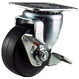 ナンシン 汎用キャスター 自在φ65ゴム車輪 ストッパー付き STC-65 EM S-1