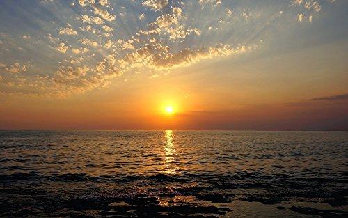絵画風 壁紙ポスター (はがせるシール式) 日没 サンセット 夕陽 夕焼け 海 キャラクロ SSST-001W2 (ワイド版 603mm×376mm) 建築用壁紙+耐候性塗料