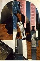 手描き-キャンバスの油絵 - violin and ink bottle on a table 1913 Juan Gris 芸術 作品 洋画 ウォールアートデコレーション -サイズ10