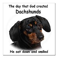 """CafePress–god-dachshundダークシャツSquareカーマグネット3"""" x 3""""–Squareカーマグネット、磁気バンパーステッカー Large - 5x5 1044258052D45F5"""