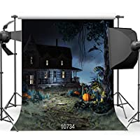 Halloween Night Backdrop 8x 8ft Old Wooden House Bats and Pumpkinsビニール写真背景スタジオ小道具10734