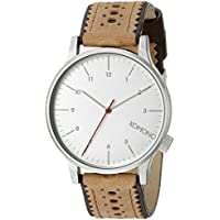 KOMONO Unisex KOM-W2011 Winston Brogue Series Stainless Steel Watch with Two-Tone Leather Band