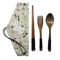木製食器3点セット テーブルウェア ポーチ キャンプ 旅行 ピクニック オフィス 自宅用 (フォーク スプーン 箸)