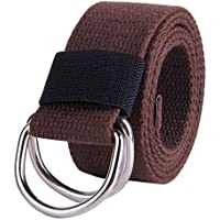 JINIU Canvas Web Belt Double D-ring Buckle for Men Solid Color Father's Day Gift
