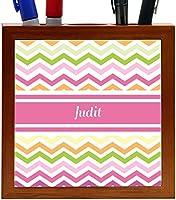 Rikki Knight Judit Pink Chevron Name Design 5-Inch Wooden Tile Pen Holder (RK-PH7199) [並行輸入品]