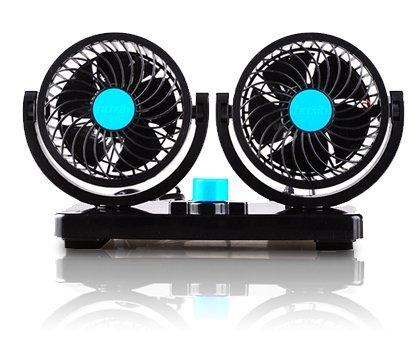 角度調節 車内 シガー 風量調節 車載扇風機 ツインファン (12V/ブルー)...
