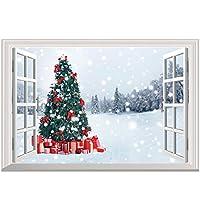 壁飾り 窓枠 窓の外 雪景色 クリスマスツリー ウォールステッカー 窓ポスター クリスマス インテリア 飾り オープンウィンドウ クリスマス 壁紙 壁シール 壁紙 72*48.5cm (ACZ-002)