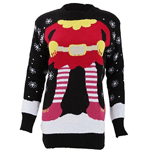 レディース クリスマスエルフのデザイン クリスマスニット クリスマスセーター トップス Xmas クリスマス サンタ 女性用 (XL) (ブラック)