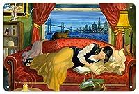 22cm x 30cmヴィンテージハワイアンティンサイン - 彼女はサンフランシスコに住んでいます - 女性がソファーで寝る - オリジナルの水彩画からのもの によって作成された ロビン アルトマン