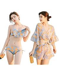 タンキニ 水着 ビキニ レディース 3点セット シフォン 透け感 胸パッド付き 上下 セット ワイヤー ビーチ プール プリント 花柄 着痩せ 体型カバー