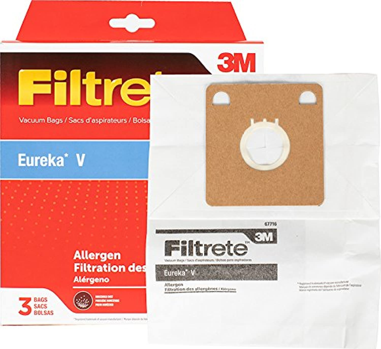 3 M 3-bag Eureka V Allergen真空バッグby Filtrete
