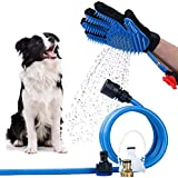 Dog Bathing Tool Pet Shower Sprayer & Pet Bath Brush 2-in-1 Upgraded Pet Shower Grooming Glove for Bathing Massage, Compatibl