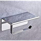304 Stainless Steel Toilet Paper Roll Holder, Bathroom Tissue Wall Mount Storage Hook with Mobile Phone Storage Shelf, 3M Sel