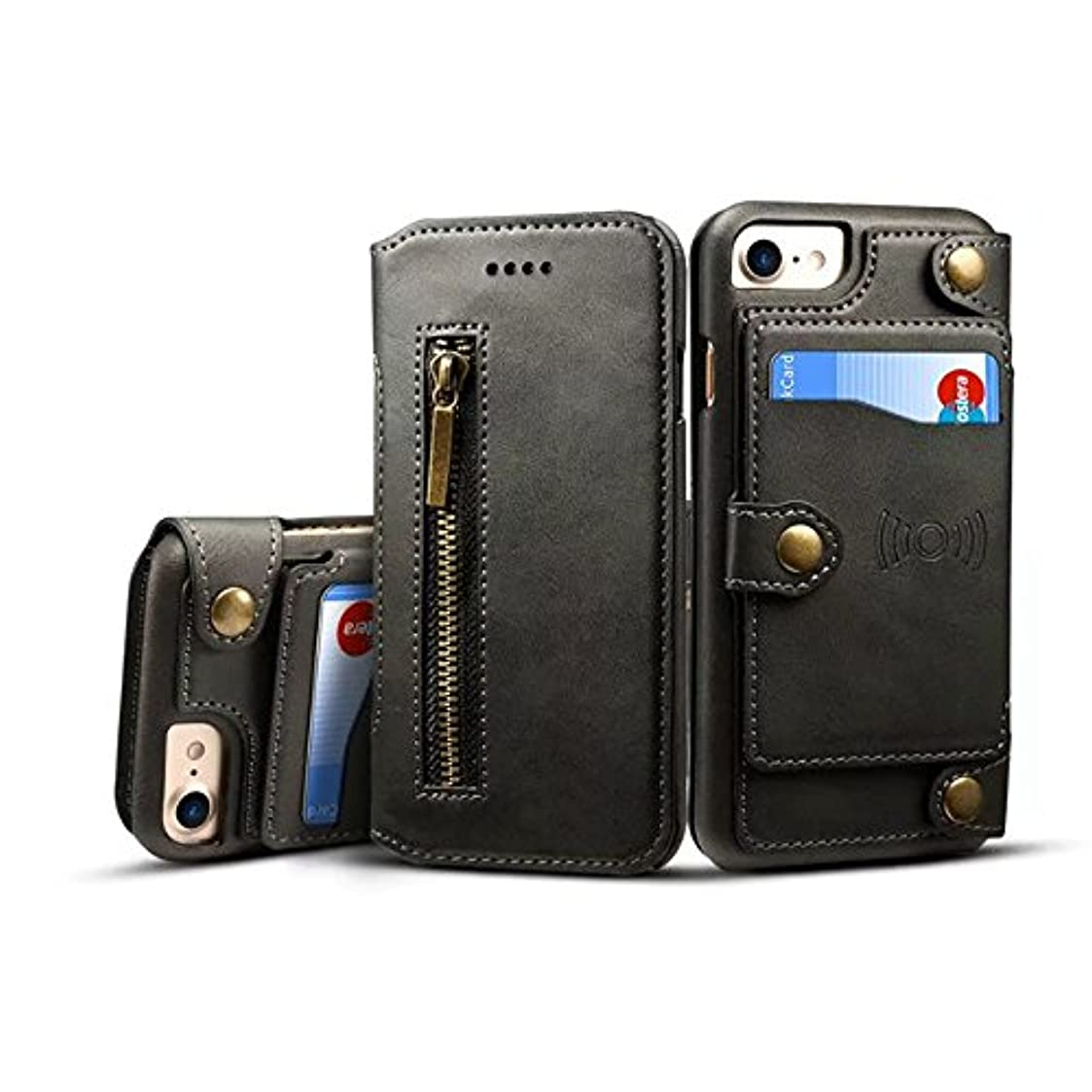 スチールカブぬるいShaclobx 電話アクセサリー iPhone 6 Plus&iPhone 6s Plus用長財布ケース、多機能2 in 1レザーケースジッパーウォレットケース(取り外し可能な磁気カードスロットとiPhone 6 / 6s Plus用) (Color : Black)