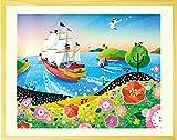 絵画 海 「輝きの朝」 額入り・Lサイズ 壁掛け インテリア 絵 リビングに飾る絵 玄関 風水 壁飾り 帆船 アートパネル アートポスター 大きい 風景画 額付き
