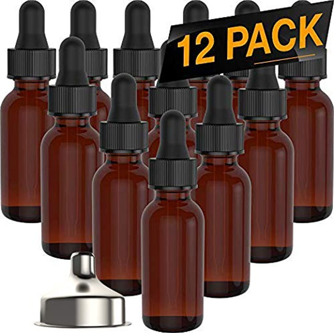 Essential Oil Roller Bottles - Round Boston Empty Refillable Amber Bottle with Glass Dropper [ Free Stainless...