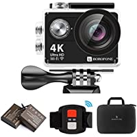 BOROFONEスポーツカメラ 1080P 4K WIFIフルHD防水ビデオカメラ 12MPダイビングカメラ 30メートル防水2インチLCD液晶画面170度広角 無線リモコン 空撮やスポーツに最適 二つバッテリーと16個標準アクセサリー付属  (ブラック)