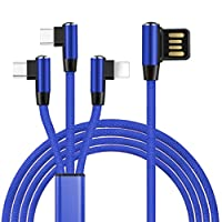 Grotech 充電ケーブル 3in1 L字型 ライトニング/Micro USB/Type-C 同時給電可 急速充電 一本三役 高耐久 iPhone/Galaxy/Huawei等全機種対応 一本三役 (ブルー)