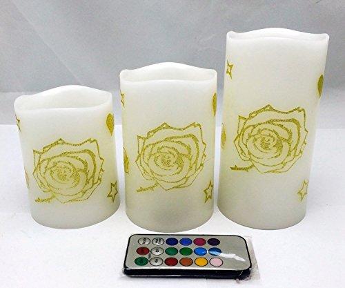 Adoria TM 柱状、ledキャンドルがキラキラなゴールドのバラの図で装飾されて、バラのにおいです。 リモコンを持って、4h/8h消灯タイマーの機能がある。 3個セット 高さ:10.1cm、12.5cm、15.2cm 灯の色が変化してきらめくのモデルとスタティックな光を出すのモデル。バレンタインデー、披露宴など場合に使用する。
