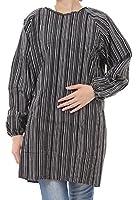 Hachigo (ハチゴウ) ワン ポケット 付 チェック 柄 割烹着 エプロン スモック 男 女 兼用 長袖 和装 作業 (1.ボーダー(ブラック))