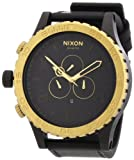 Nixon Men 's a124–036Leather Synthetic with Black Dial Watch